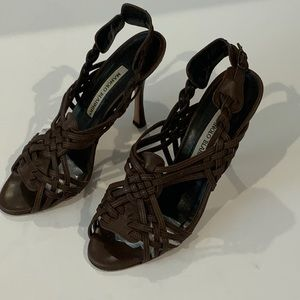 Manolo Blahnik Dark Brown Sandals